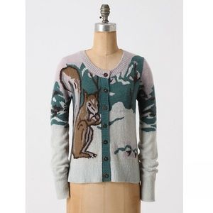 Anthropologie HWR Time to Gather Squirrel Sweater
